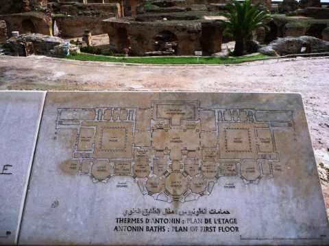 Tunisie Le plan et les ruines des thermes romains monumentaux de Carthage