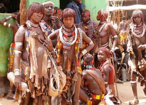 Groupe de femmes Hamer parées de leurs bijoux de perles et coquillages au marché de Turmi  (Ethiopie)