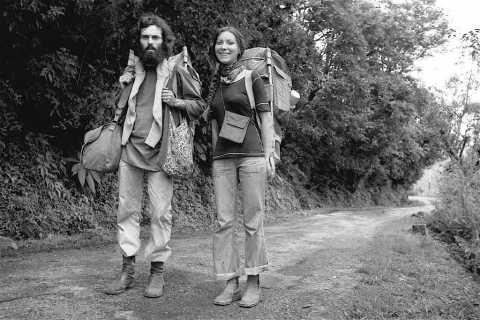 Hubert Marot et Dominique sur la route en Inde