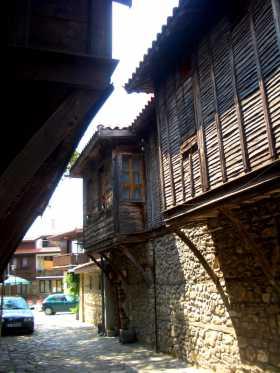 Mer Noire Bulgarie Unesco Nessebar Byzance maisons de bois Des maisons typiques du vieux Nessebar en Bulgarie