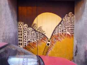 Atlantique Portugal Madère Funchal street art rue Reflet de portail dans un pare-brise