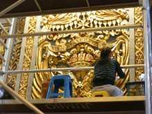 Méditerranée Malte La Valette baroque richesses cathédrale Tous les murs à l'intérieur de la co-cathédrale ont été récemment redorés aux Détail d'une des innombrables statues de marbre Détail d'une des innombrables statues de marbre aux feuilles d'or 24 carats