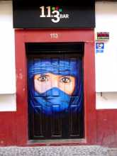 Street art portes peintes Madère Funchal Rue Santa Maria Regard saharien au milieu de l'Atlantique