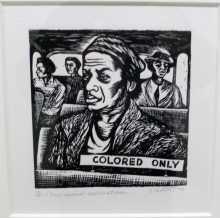 """color line musée quai Branly Etats-Unis ségrégation racisme Linogravue (gravure sur linoléum) de 1946 d'une artiste africaine-américaine, Elisabeth Catlett, """"I have special reservations"""" (j'ai des réservations spéciales"""")"""