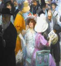 """Peinture exposition impressionnisme détail du tableau de 1911 de Jules-Alexandre Grün """"Un vendredi au salon des artistes français"""" (Musée des Beaux-Arts de Rouen)"""
