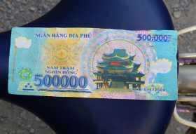 millionnaire 500 000 dongs vietnamiens qui valent à peu près 20 euros (Photo Régis Martin)